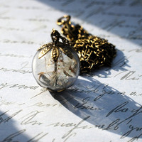 Dandelion Wish Necklace Real Seeds Wish by NaturalPrettyThings