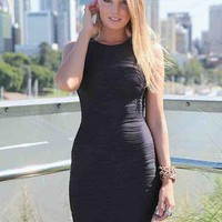 Black Sleeveless Textured Bodycon Dress with High Neck