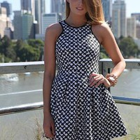 Black & White Print Sleeveless Dress with Skater Skirt