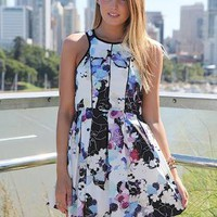 Floral Print Fit &amp; Flare Sleeveless Dress with High Neckline