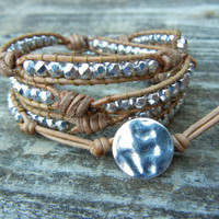 Beaded Leather 4 Wrap Bracelet with Silver Czech Glass Beads on Natural Tan Brown or Black Leather with Knots