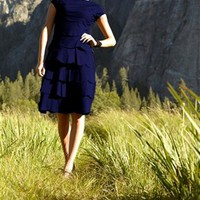 Royal Blue Scallop Tiered Dress