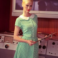 One For My Baby Spearmint Polka Dot Chiffon Dress with Peter Pan Collar and Accordian Pleats