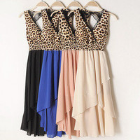 sexy leopard splicing clothes length Hollow dress