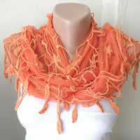 WEB Model Orange Tulle Scarf with leaf Lace by Periay on Etsy