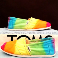 RAINBOW TOMS Tie Dye Custom Toms