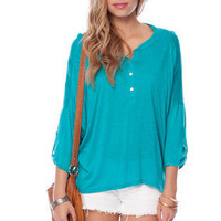 Knitting Me Softly Slub Top in Teal :: tobi