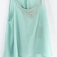 Crystal Soft Mint Chiffon Top | Emma Stine Jewelry Necklaces