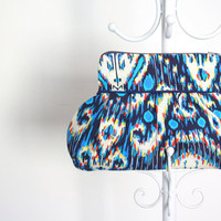 Blue Ikat Aztec Amy Butler Wristlet Clutch Purse by SahndaMarie