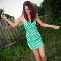 Hot Dot Dress In Green - Bliss Salon and Boutique