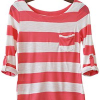 Perfect Everyday Shirt, Coral Pink Stripes