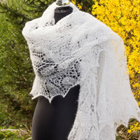 White Wedding Stole, Estonian Stitch Pattern Wrap, Feminie Lacy Shawl, HandKnitted Lace Stole