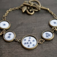 Antique Brass Bracelet - 4 Small and 1 Medium Glass Cabochons - Tiny Blue Flowers