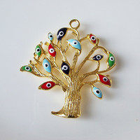 Tree gold plated pendant with evil eyes1 pc by 1dream on Etsy