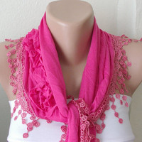 Neon Pink  Cotton Scarf with three roses and tassel Lace by Periay