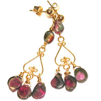Watermelon Tourmaline Slice Chandelier Earrings Gemstone Jewelry