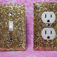 SET Of Chunky GOLD Glitter Swichplate Outlet Covers ANY Styles