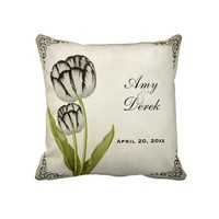 Vintage Parrot Tulip Personalized Keepsake Pillow from Zazzle.com