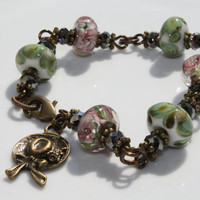 Lilac and Light Green Lampwork Glass Beaded Brass Vintage Style Bracelet with Hat/Bonnet Charm