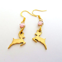 Deer Earrings, Baby Fawn Earrings, Gazelle Earrings, Pink and Gold Earrings, Cute little delicate spring earrings