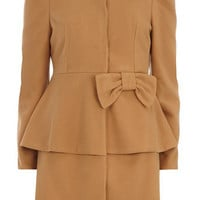 Brown waist frill coat