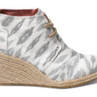 Grey Ikat Women&#x27;s Sustainable Desert Wedges | TOMS.com