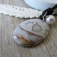 Druzy and leather necklace Mexican Crazy Agate Drusy Pendant Bead with white feather and Swarovski pearl - Chan Luu style