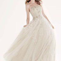 Tulle Ballgown with Champagne Lining and Beading - David&#x27;s Bridal- mobile