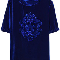 ROMWE | Cut-out Relief Blue Velvet T-shirt, The Latest Street Fashion