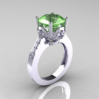 Classic 10K White Gold 3.0 Carat Green Topaz Diamond Solitaire Wedding Ring R301-10KWGDGT