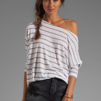 BCBGMAXAZRIA Striped Top in White/Hazelnut Combo from REVOLVEclothing.com