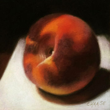 Peach 6 x 6 Original Pastel Painting on Paper by LittletonStudio