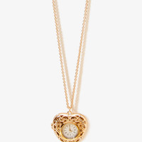 Heart Watch Locket Necklace | FOREVER 21 - 1021839456