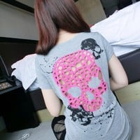 [5757-Black] Hollow Design Skull Pattern Long Style T-Shirt