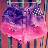 High Wasted Colored 2 tone colored denim shorts
