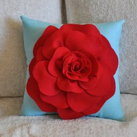 Flower Pillow Red Rose on Robins Egg Blue Accent Pillow