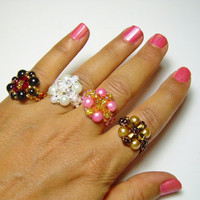 Beaded rings with different colors.
