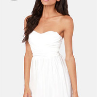 LULUS Exclusive Sash Flow Strapless Ivory Dress