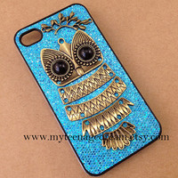 cute owl iphone 4 case, blue sparkle iphone 4s case, lovely owl case for iphone 4, iphone 4s