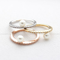 girlsluv.it - PEARL ring with crystals,3 colors