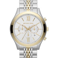 Michael Kors  Oversize Silver Color/Golden Two-Tone Stainless Steel Brookton Watch