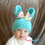 Bunny Hat, Easter Hats, Baby Photo Props, Bunny Ears Hat, Blue, Teal, Polka dot Bow