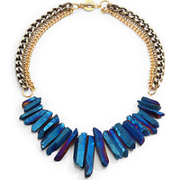 Janna Conner - Rock Crystal Fringe Multi-Chain Necklace/Blue