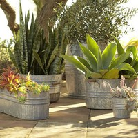 Eclectic Galvanized Metal Planters
