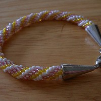 Crochet Bead Bracelet Pink Yellow White Spiral Rope