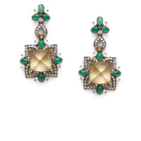 Citrine, Green Onyx, & Diamond Drop Earrings by Blake Scott at Gilt