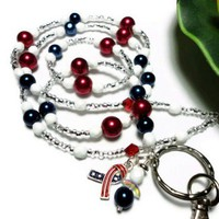 Lanyard Id Necklace Patriotic Red White Blue Angel Flag Pearls Fashion