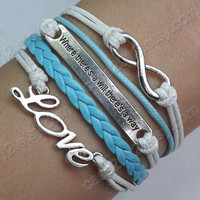 Bracelet  antique silver infinite bracelet LOVE by case2012