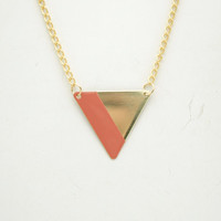 Minimalist Geometric Triangle Lined Necklace - Peach Hand Painted Modern Raw Brass Jewelry  - Gold Plated Chain