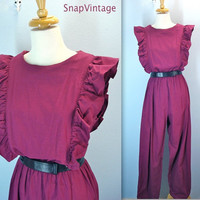 80s Burgundy Jumpsuit / Vintage Ruffled Playsuit Pants / m-l